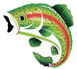 "Rainbow Trout Fish Shape Fishing Birthday Party Dad Grandpa 29"" Balloon Supply"