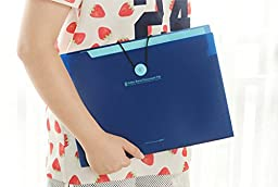 YooFun 8 pockets A4 and letter size Expanding Accordion File Folder with Front flap with elastic string and button closure (Deep Blue)