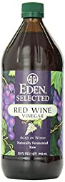 Eden Selected - Red Wine Vinegar - Naturally Fermented Raw (Aged in Wood), Glass Bottle, 32 Oz / 1 Qt / 946 Ml (Pack of 1)