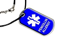 Penicillin Allergy - Military Dog Tag Black Satin Cord Necklace by Dog Tags