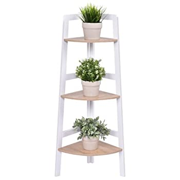 Giantex 3 Tier Wood Corner Shelf Home Furniture Wall Bookshelf Display Stand Ladder Bookcase Shelf