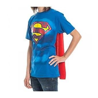 Superman Shield Mens Royal Cape Tee, Small, Royal Blue/Red