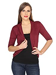 Ten on Ten womens Solid pattern Maroon Shrug