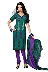 Variation Women's Green Crepe Unstiched Dress Material (VD13093)