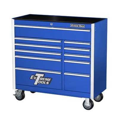 Extreme Tools EX4111RCBL 11-Drawer Roller Cabinet with Ball Bearing Slides, 41-Inch, Blue High Gloss Powder Coat Finish