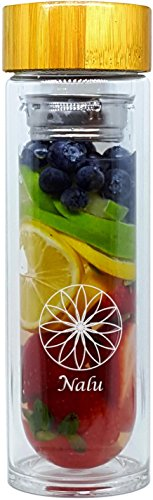 NALU SUN Tea Infuser Tumbler, Fruit Infusion Glass Bottle & Coffee Brewer - Stainless Steel 2-stage Filter/Strainer and No Plastic! 15.8 Ounces (Sun Bottle compare prices)