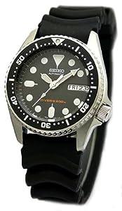 Seiko de los hombres, correa de goma Negro, Divers Reloj Automático con Dial Negro, la caja de tamaño medio - SKX013K1