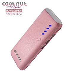 COOLNUT Power Bank 12500mAh with 3 USB Output Ports For HTC, Blackberry and Other Smartphone (Pink)