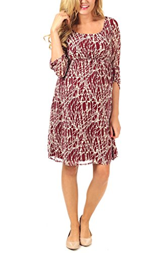 Pinkblush Maternity Burgundy Ivory Printed Chiffon 3/4 Sleeve Maternity Dress, back-565939