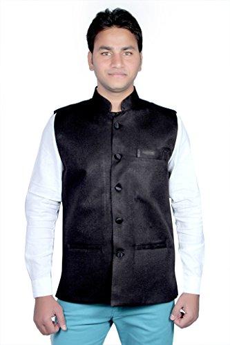 Routeen Black Nehru Ethnic Jackets for Men
