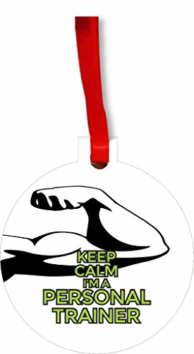 Keep Calm I'm a Personal Trainer Round Flat Hardboard Holiday Tree Ornament Made in the U.S.A.