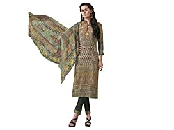 Kvsfab Multicolor & Green Italian Crape Dress Material