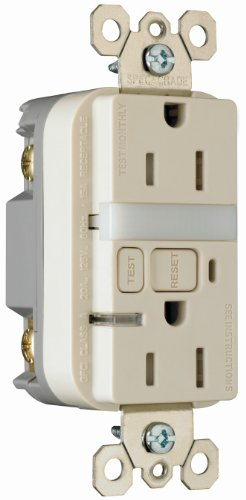 15 Amp Light Almond Wall Outlet With Nightlight