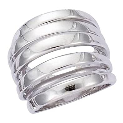 So Chic Jewels - 925 Sterling Silver Stripes Modern Luxury Band Ring