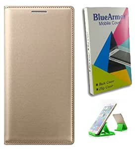 BlueArmor Leather Flip Cover Case for Reliance Jio Lyf Wind 3 - Gold & Mobile Stand