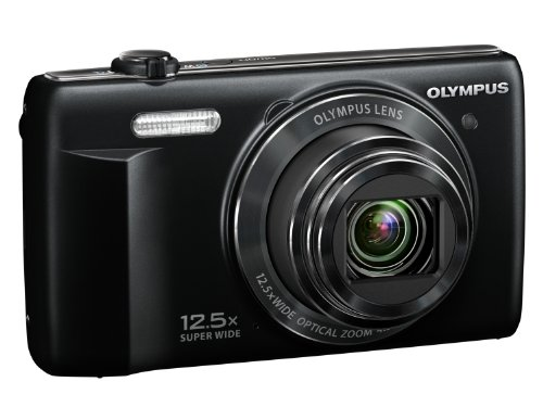 Olympus STYLUS VR-370 Digital Compact Camera - Black (16MP, 12.5x Super Wide Optical Zoom) 3 inch LCD