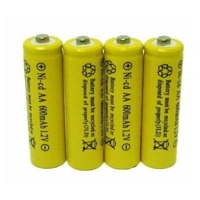 4 Piece Set AA NiCd 600mAh 1.2V Rechargeable