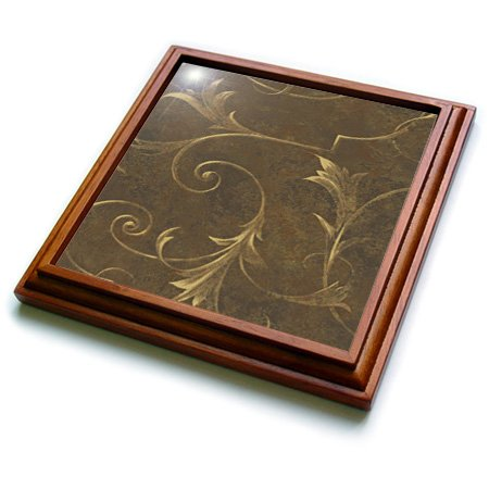 Spiritual Awakenings-Patterns - Brown gradient background with golden vine accents - 8x8 Trivet with 6x6 ceramic tile (trv_167068_1)