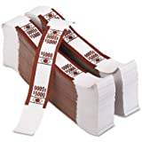 PM Company Securit $5000 Denomination Kraft Currency Bands with Quick Stick Adhesive Printed Brown, 11.25 X 7.875 Inches, White, 1000 Bands Per Pack (55033)