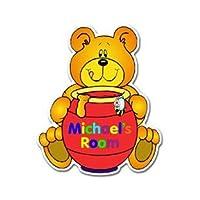 Personalised Red Honey Bear Door Plaque