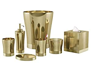 Nu steel 8 piece special gold bath for Gold bath accessories sets