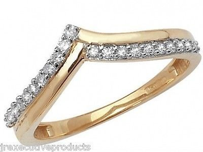 J R Jewellery 413481 9ct Yellow Gold Diamond Rounds Wishbone Eternity Ring 0.15CTW