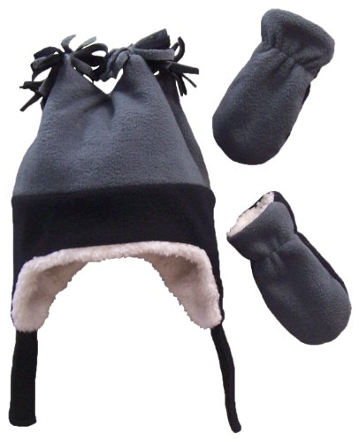 N'Ice Caps Boys Sherpa Lined Micro Fleece Four Corner Ski Hat and Mitten Set (3-6mo, Infant - Black/Charcoal Grey)