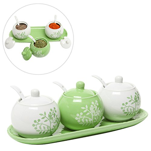 Set of 3 Lime Green & White Ceramic Floral Tree Motif Spice Jars / Condiment Pots w/ Serving Spoons, Tray