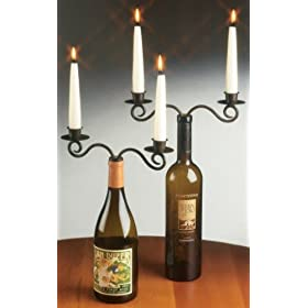 set of 2 Double WINE bottle candelabra CANDLEABRA candle holder decor NEW