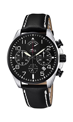 Lotus Men's Quartz Watch with Black Dial Chronograph Display and Black Leather Strap 10127/2