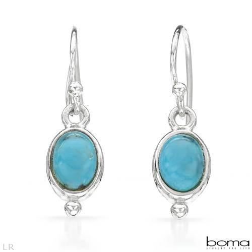 BOMA Wonderful Earrings With Created Turquoises Made in 925 Sterling silver Length 24mm