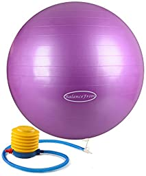 BalanceFrom Anti-Burst and Slip Resistant Fitness Ball with Pump (Purple (55cm))