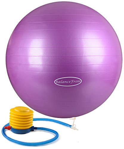 BalanceFrom Anti-Burst and Slip Resistant Fitness Ball with Pump, Purple (55cm)