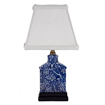dark blue white rectangular porcelain accent table lamp navy table. Black Bedroom Furniture Sets. Home Design Ideas