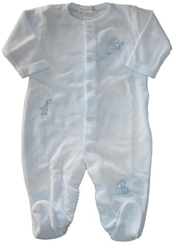 Kissy Kissy Baby Boys Zoo Babies Blue Velour Footie-Blue-9 Months front-1043529