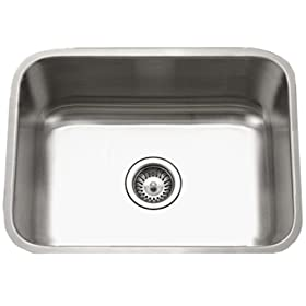 Houzer STS-1300-1 Easton Single Bowl Undermount Stainless Steel Kitchen Sink, 23-3/16-by-17-15/16-Inch
