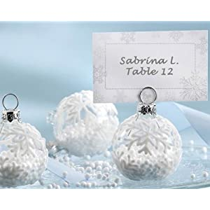 &quot;Snow Flurry&quot; Flocked Glass Ornament Place Card/Photo Holder