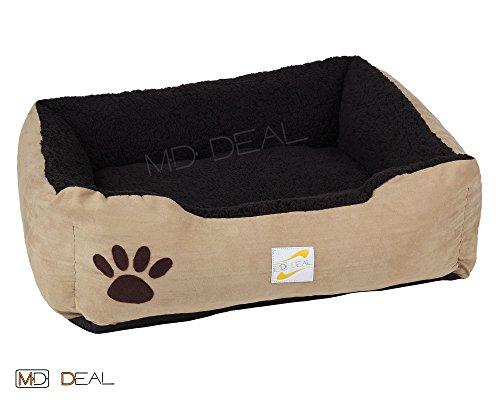 1er-Set-Hundebett-in-Beige-Schwarz-Hundekorb-Hunde-Katzen-Bett-Katzenbett-S