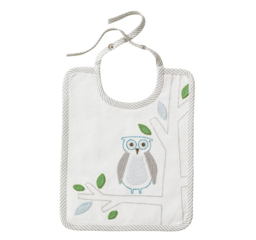 DwellStudio Embroidered Bib, Owls Sky