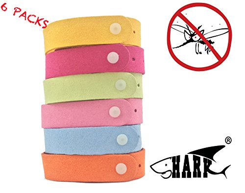 Shark® Natural Mosquito Repellent Bracelets - 6 PACK Outdoor Citronella Insect Repellent Wristbands Deet Free and Kids Safe (Kids Shark Bracelet compare prices)