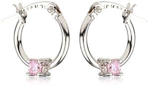 """Disney """"Princess"""" Girl's Sterling Silver Pink Cubic Zirconia Hoop Earrings from Disney"""