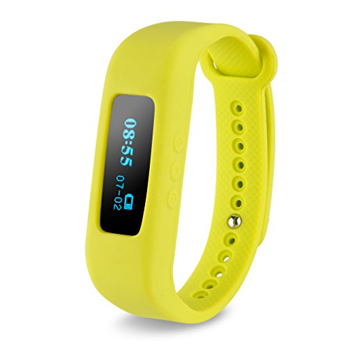 Excelvan OLED Smart Healthy Bracelet Bluetooth V4.0 Wristband with Pedometer / Sleep Monitoring / Tracking Calorie/Remote Capture Compatible with Android and IOS (Yellow green)