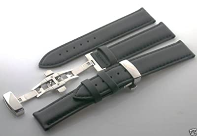 22mm Leather Deployment Strap for Tag Heuer Watch Black #7