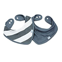 Bumkins Printed Waterproof Bandana Bib 2 Pack, Gray Stripe (0-9 Months)