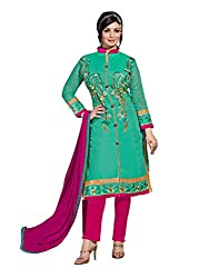 Suchi Fashion Turquoise & Pink Embroidered Chanderi Dress Material