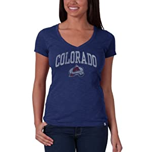 NHL Colorado Avalanche V-Neck Scrum Tee, Bleacher Blue by