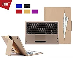 FYY Leather Wireless Bluetooth Keyboard Case with Note Holder for Apple iPad Pro - Gold