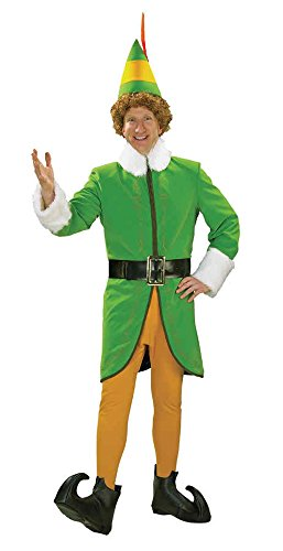 UHC Men's Deluxe Santa Buddy The Elf Christmas Holiday Party Costume, Medium (38-40) (Deluxe Buddy The Elf Costume)