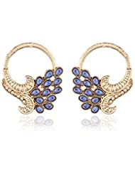 I Jewels Traditional Gold Plated American Diamond Earrings For Women EC104BL (blue)