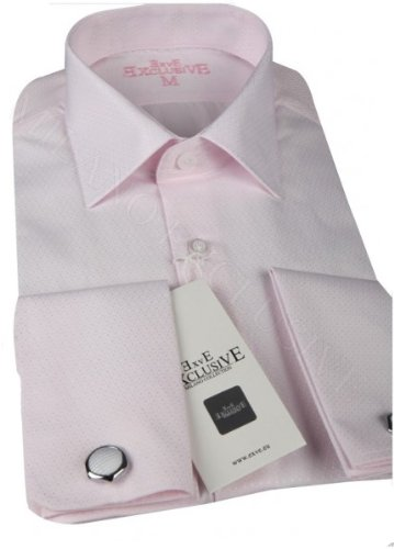 Jermyn street shirts Mens Pink Slim Fit formal Cufflink Shirt With Tie - Small